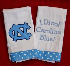 University of North Carolina Burp Cloth Set by BebesStitches, $15.00