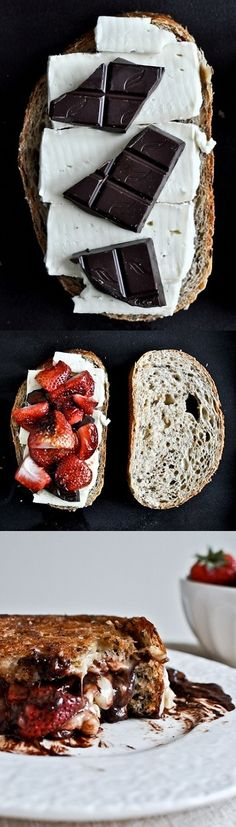 Grilled Brie, Strawberry and Dark Chocolate