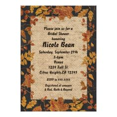 268 best bridal shower invitations and ideas images on pinterest in shop rustic autumn fall golden tone leaves burlap invitation created by printabledigidesigns find this pin and more on bridal shower invitations filmwisefo