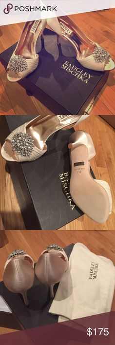 NIB Badgley Mischka Pearson Pumps Vanilla Satin 7 Brand new pumps. Vanilla satin with gem from. Comes with box. Dust bag. Spare gems and heel tips. Peep toe pumps. Woman's 7 Badgley Mischka Shoes Heels