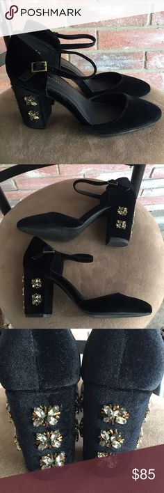 Anthropologie Diamond FarylRobyn Fay Mary Janes Size 7.5. Worn once. Gorgeous black velvet and jewels! Anthropologie Shoes Heels