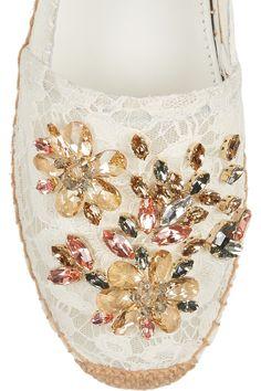 Dolce & Gabbana|Swarovski crystal-embellished lace espadrilles|NET-A-PORTER.COM