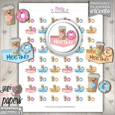 50%OFF - Meeting Stickers, Planner Stickers, Office Work Meetings, Meeting Reminder, Appointment Sticker, Coffe Stickers, Donut Stickers
