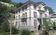 A rendering of the external façade requested by the owner at the end of the works. The villa is located in Cannobio, a beautiful village on the shores of Lake Maggiore