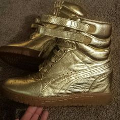 Gold Puma Wedges Gold Puma x Rime Luxe Sky Wedges, slightly used. Comfortable shoes.. Gold sneakers Puma Shoes