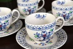 Johnson Brothers Sugar & Spice Cups Saucers by SucresDaintyDish, $30.00