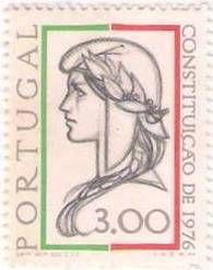 Selo comemorativo da constituição de 1976/ stamp celebrating the Constitution of 1976;