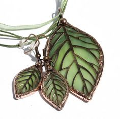Stained Glass Leaf Pendant SGLP5 by colorshoppestudio on Etsy, $22.00
