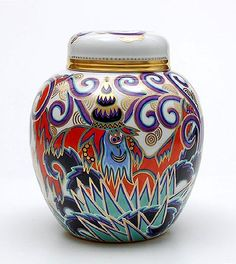 Porcelain covered jar model no 229 with decoration Indra no.15 decoration design Kurt Wendler 1921 executed by Rosenthal Selb / Bavaria Germany