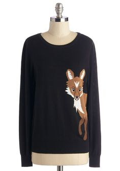 Fox Trot on By Sweater. Theres no use in trying to slip by unnoticed when youre wearing this black Sugarhill Boutique sweater! #black #modcloth