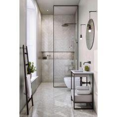 13 Rental Renovations You Can Probably Get Away With - bathroom - badezimmer Bathroom Layout, Modern Bathroom Design, Bathroom Interior Design, Bathroom Ideas, Bath Ideas, Bathroom Storage, Chevron Bathroom, Modern Bathtub, Condo Bathroom