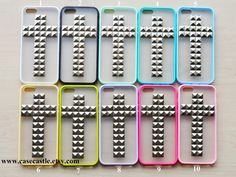 Cross Silver Pyramid Studded Frosted Translucent iPhone 5 Case, iphone 5s case, iphone 5c case, iPhone 5 Cover, 10 colors for you choose on Etsy, $3.99