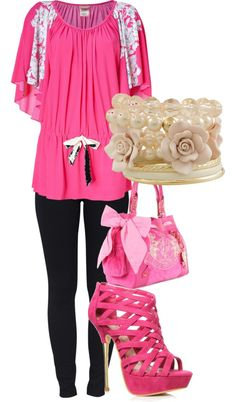 pretty in pink, created by azalia101 on Polyvore