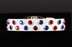 Patriotic Leather Dog Collar with Swarovski by JustForBella, $70.00.  Love for 4th of July for both.