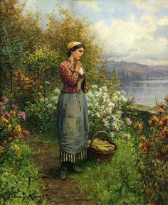 Daniel Ridgway Knight ~ (b,1839~ TerraceGalerii de arta: Case cu gradini in pictura ~ Garden And Houses In Painting