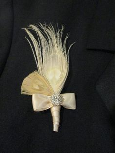 Peacock Boutonniere Wedding Lapel pin in by RejuvenatedDesigns, $7.00