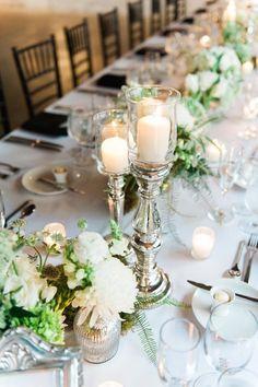 photo: Shea Christine Photography; elegant white wedding centerpiece;