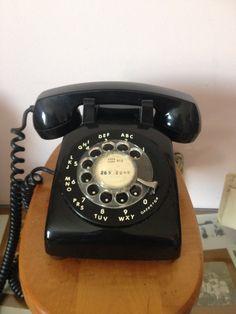 Vintage Mid Century Black Rotary Dial Desk Phone, Mad Men , RETRO Telephone, conversation piece, retro decor on Etsy, $25.00