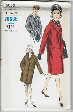 Find many great new & used options and get the best deals for Vtg Vogue 6052 Pattern 1960s 60s 1963 Coat Single-Breasted Chesterfield 14 at the best online prices at eBay! Free shipping for many products! Coat Patterns, Mccalls Patterns, Miss Dress, Double Breasted Jacket, Vintage Vogue, Chesterfield, Fabric Dolls, Single Breasted, 1960s