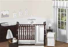 White and Gray Hotel 9 Piece Crib Bedding Set