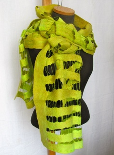 RESERVED FOR ANDREA Felted Scarf  hand dyed in green chartreuse with merino wool and silk fibers and yarns - Strings Summer Collection 2012. $105,00, via Etsy.
