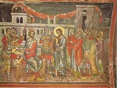 Christ at the judgment hall of Pilate. Fresco by Theophanes of Crete, Stavronikita Monastery, Mt. Byzantine Icons, Eucharist, Holy Week, Medieval Art, Religious Art, Art And Architecture, Savior, Fresco, Christianity