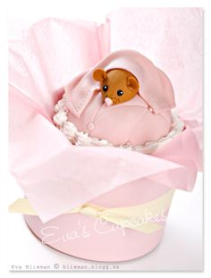 Baby Shower cupcake of a mouse under a blanket over a pin cushion, pink    Darling! - Eva Blixman