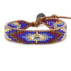 Chan Luu - Blue Mix Single Beaded Wrap Bracelet on Natural Brown Leather, $140.00 (http://www.chanluu.com/blue-mix-single-beaded-wrap-bracelet-on-natural-brown-leather/)