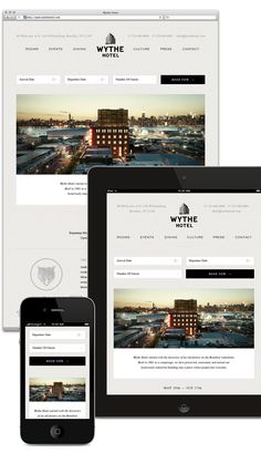 hotel website A responsive design website for a new hotel on the Brooklyn waterfront, converted from a historical old factory into a place where people feel welcome. Technology Posters, Digital Technology, Hotel Website Design, Website Designs, Website Ideas, Brooklyn Hotels, Wythe Hotel, Best Vacation Destinations, Tourism Website