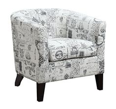 Bring a contemporary look to your decor with this AC Pacific Jerry White Upholstered Barrel Back Accent Arm Chair. Add a vintage touch to your home. Leather Recliner Chair, Printed Accent Chairs, Chair, Furniture, Fabric Accent Chair, Accent Arm Chairs, Chair Types, White Upholstery, Barrel Chair