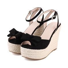 Ankle Strap Bow Knot Design Wedge Sandals