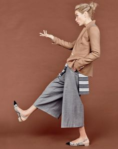 J.Crew women's Regent blazer, drapey culotte pant and slingback flats in snakeskin-printed leather.