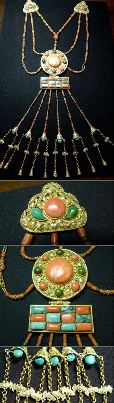 A set of elaborate chest ornament worn by woman of status in Mongolian in 19th c.  Gilded silver, coral, turquoise. Private collection