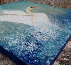 Painting of a white swan taking flight from the surface of water - created using acrylics on canvas Swan Painting, White Swan, Mixed Media Canvas, Bird Art, Birds In Flight, Close Up, Delivery, David, Link