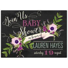 Floral Vine Banner Baby Shower Invitations