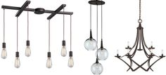 Geometric exposed bulb chandeliers from LightsOnline Blog