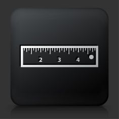 Black Square Button with Ruler Icon vector art illustration
