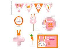 Kit mesversário. Tema:coelhinha Kit festa personalizada para comemorar o mesversário do seu bebê. Itens prontos para personalizar sua festa.