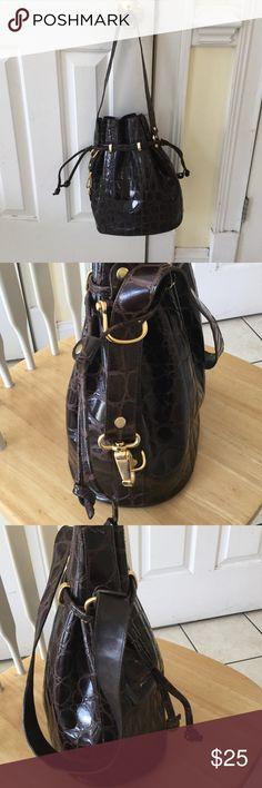 Focus Paris leather bag Brown drawstring bag pockets on inside some wear on drawstring Bags