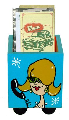 """Ethel"" is a ""hipper version"" of our popular take out caddies. Part of our new ""Happy Hour"" line of accessories and wall art for entertainment spaces. www.artoonsforyou.com"