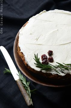Gluten-Free Cherry Almond Cake with Rosemary Vanilla Bean Buttercream makes a lovely winter cake that's fit for a simple wedding, or simply dessert for a family supper. Note that this post is not s...