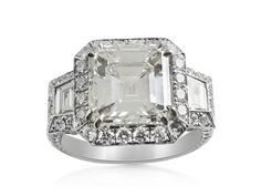 Alson Signature Collection Platinum Engagement Ring, Featuring a 4.01 Carat Asscher Cut Diamond, I Color, VS2 Clarity, GIA Certified, Accented with 2 Trapezoid Diamonds =.35cts Total Weight and 174 Round Diamonds =1.54cts Total Weight