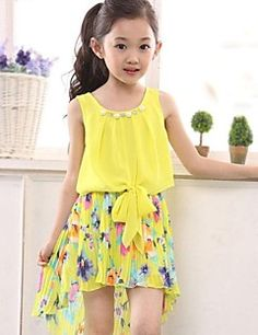 Girl's Yellow Chiffon Floral Sundress Party Birthday Pageant... – USD $ 13.99