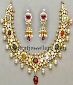 Jewellery Designs: Radiant Kundan Navaratan Choker