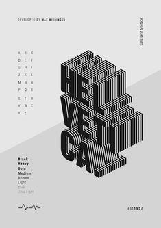 Poster design for Helvetica font. Poster Design Layout, Font Design, Graphic Design Posters, Graphic Design Typography, Game Design, Retro Typography, Typographic Poster, Fashion Typography, Japanese Typography