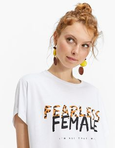 Printed T-shirt with drop sleeves - T-shirts | Stradivarius United Kingdom - Summer Sale 2018