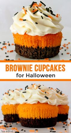 Brownies plus cake plus frosting combine in these unique and delicious Brownie Cupcakes for Halloween. What an easy Halloween Dessert! Your family, friends and party guests will be impressed when you Halloween Desserts, Hallowen Food, Postres Halloween, Halloween Brownies, Holiday Desserts, Holiday Baking, Just Desserts, Delicious Desserts, Halloween Ideas