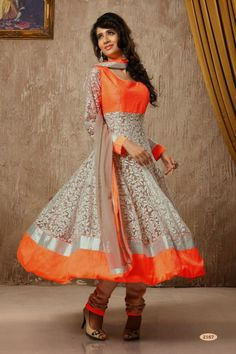 Orange and Grey Net and Silk #Anarkali #Suit with Embroidered and Lace Work - Rs. 6,749.  #zohraa