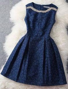 Blue Beading Rhinestone Embroidered Dress