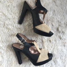 """BCBGeneration Black & Cream Peeptoe Heels *Size: 8 *Approx. 5"""" heels  *Leather upper, manmade lining/sole *One scuff on toe of right shoe (please refer to picture above), no flaws otherwise.   #bcbgeneration #bcbg #black #cream #size8 #leather #peeptoe #5inchheels #cute BCBGeneration Shoes Heels"""